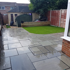 mid-grey patio with curved