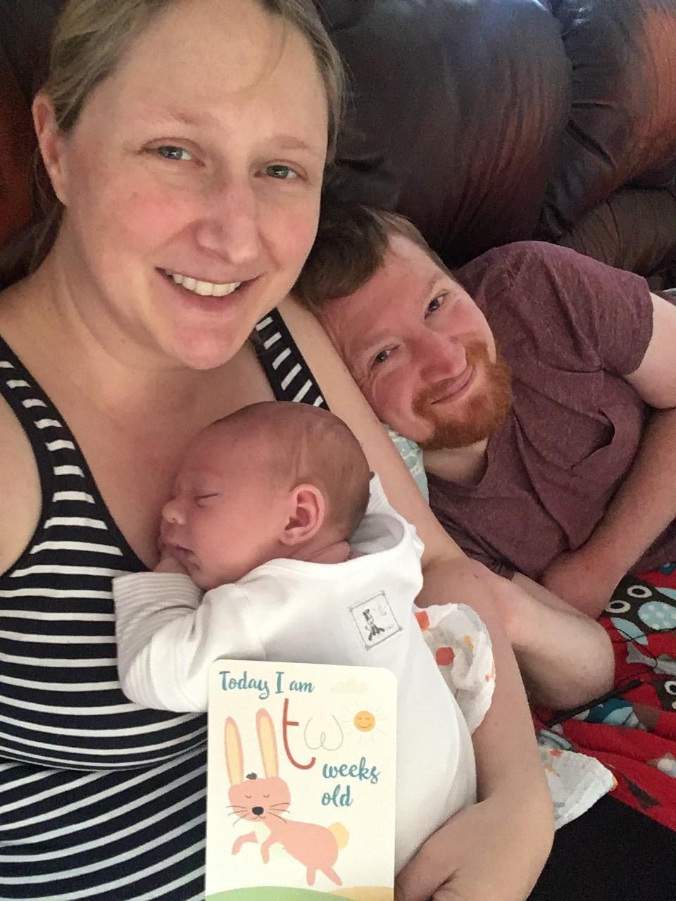 family photo of Freddie at 2 weeks