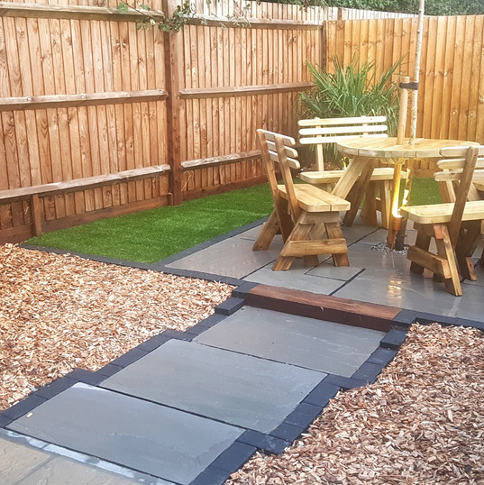 Slate grey feature patio and path