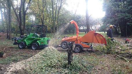 Wood chipper at work in Dorset