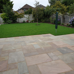 Pale rainbow Indian Sandstone patio