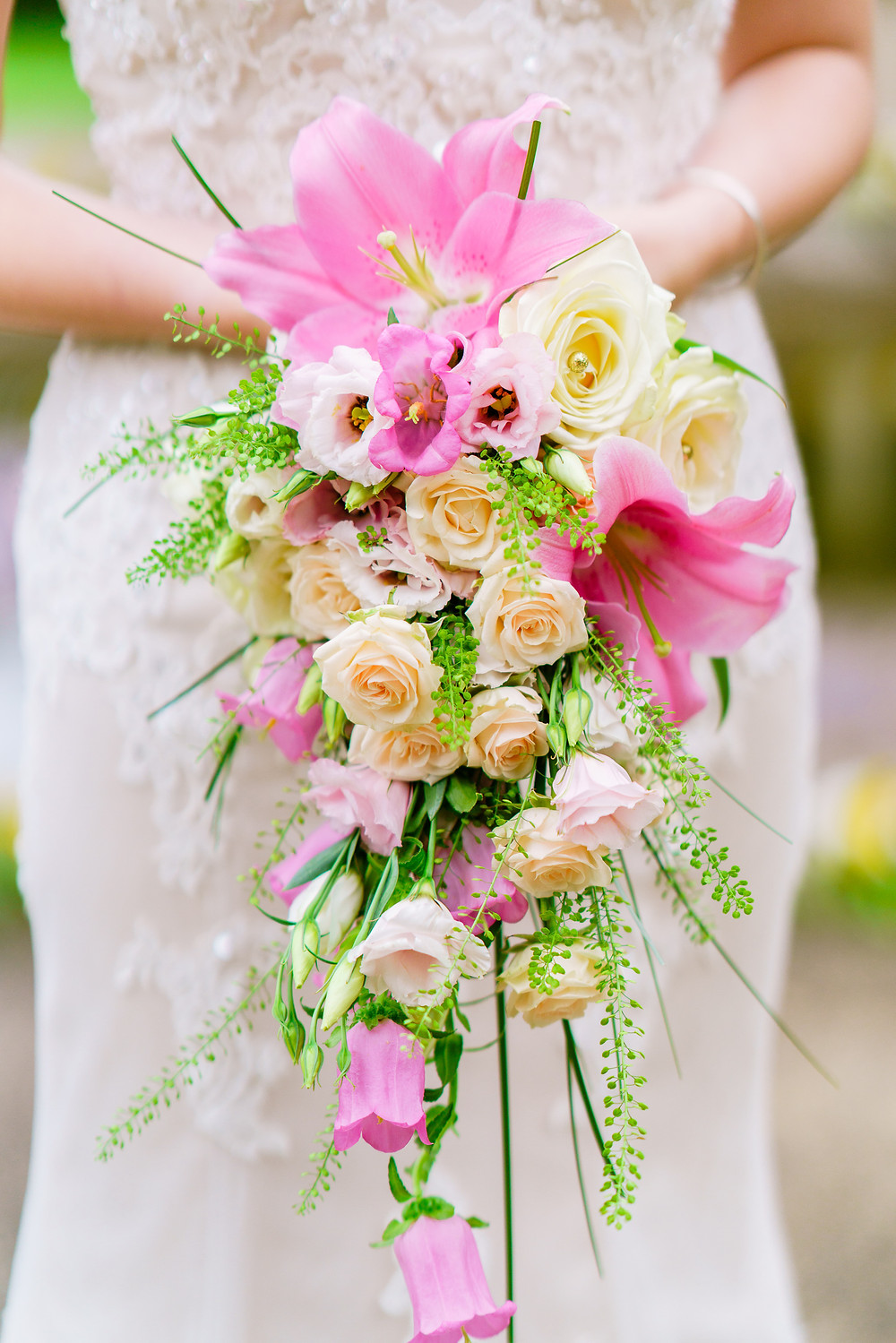 Gorgeous rose and lily shower bouquet