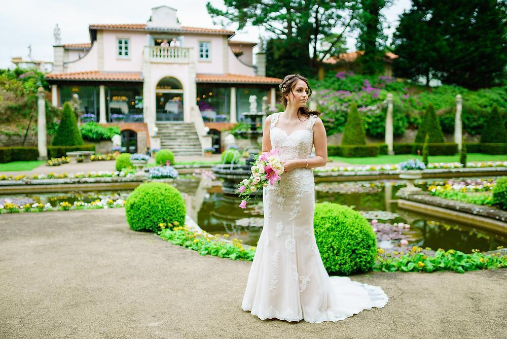 A bride in the Italian Gardens at The Italian Villa