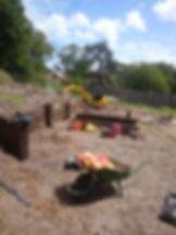Sleeper wall construction in a Dorset garden