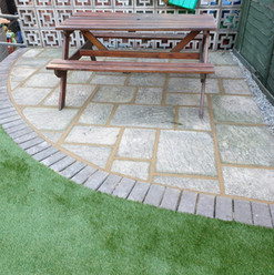 Rustic curved patio