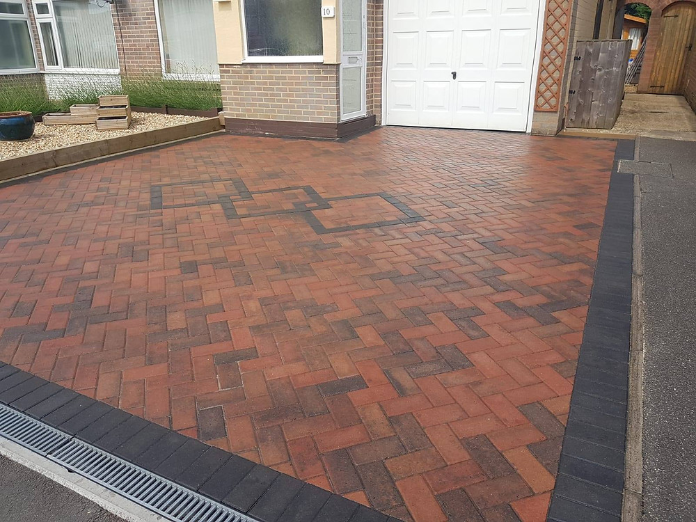 block paved driveway using red bricks