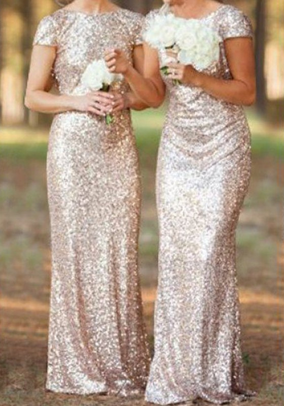 Floor length gold sequin dress