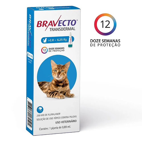 Antipulgas Bravecto Transdermal 250mg Gatos 2,8 a 6,25kg