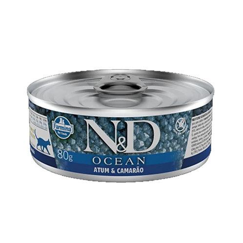 Alimento Úmido N&D Feline Ocean Atum e Camarão
