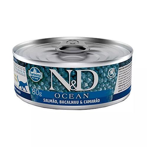 Alimento Úmido N&D Feline Ocean Salmão, Bacalhau & Camarão