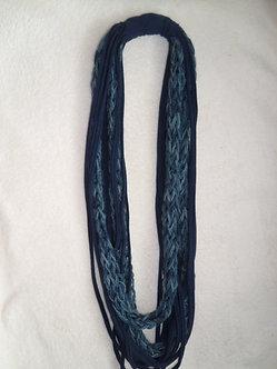 Cachecol colar malha e lã trançada - Azul