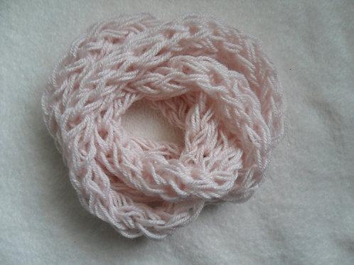 Cachecol trançado (fino) -Rosa bebê