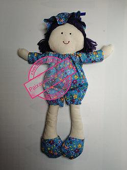 Boneca de pano (vestimenta azul florida)