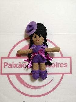 Boneca de feltro - Lilás com fita violeta