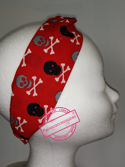 Kit (ADULTO) Caveira - Máscara e Tiara-turbante