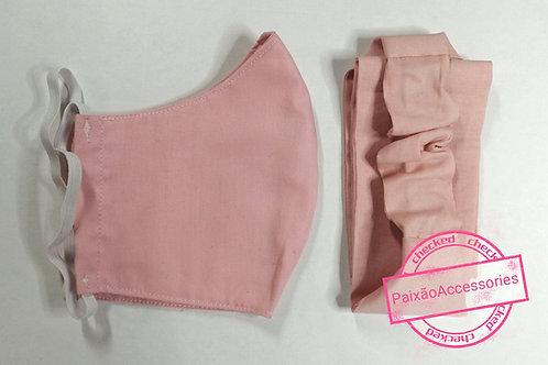 Máscara higiênica e Tiara rosa clara - (ADULTO )