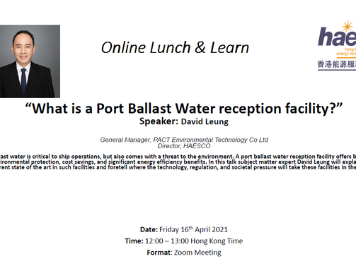 [Online Talk - What is a Port Ballast Water Reception Facility?]