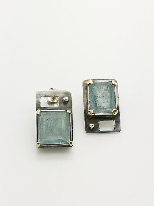 Aquamarine, sterling silver and 9ct gold abstract earrings