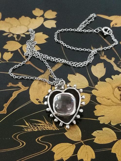 Kunzite Crystal Silver Heart Pendant