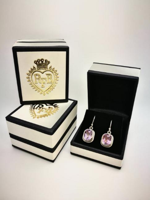 Sterling Silver & 24 carat gold foil backed Amethyst Earrings