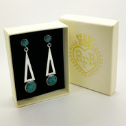 Memphis Silver & Turquoise Earrings - Richard F Burns Jewellery