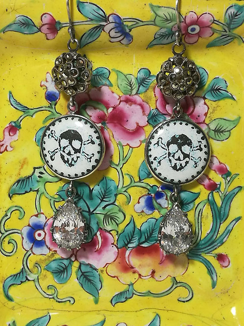 Skull & Cross-bone Pear Drop Earrings