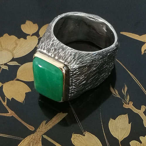 Chyrsophase Rock Textured Silver Ring