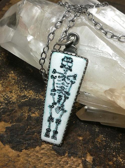 Enamel Skeleton Sterling Silver Pendant on a chain