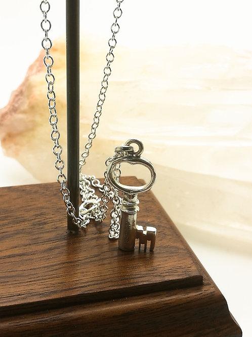 Sterling Silver Jewel-Box Key Necklace