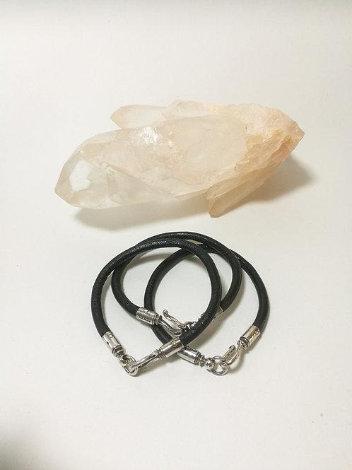 Sterling Silver Leather Bracelet