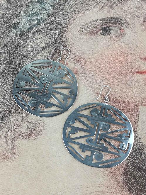 Sterling Silver Lunar Disc Earrings
