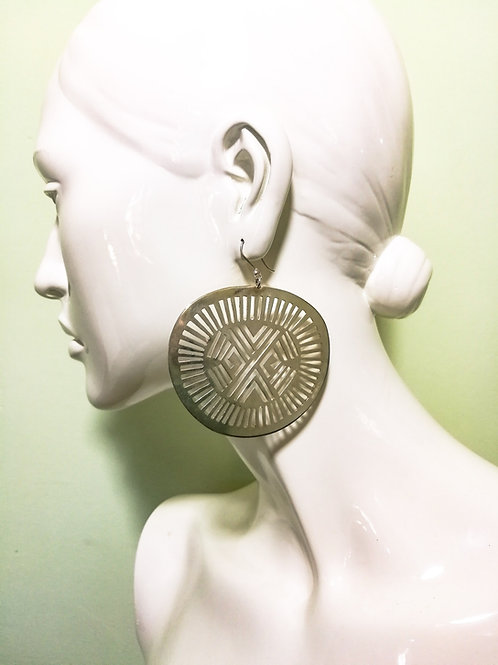 Sterling Solar Disc Earrings (Large)