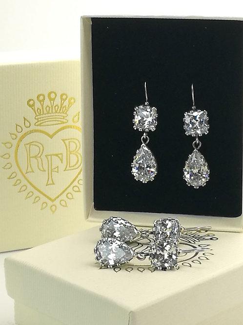 Sterling Silver Cushion Cut & Pear Drop Earrings