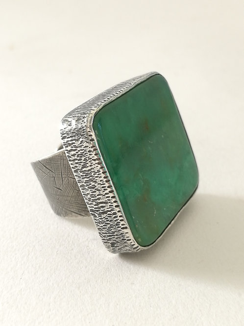 Chrysophase Rectangle Silver Ring