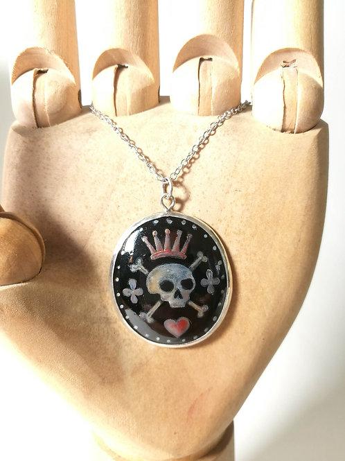 Enamel Skull & Crossbones Silver Pendant