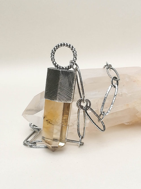 Citrine Crystal Sterling Silver Pendant & Necklace