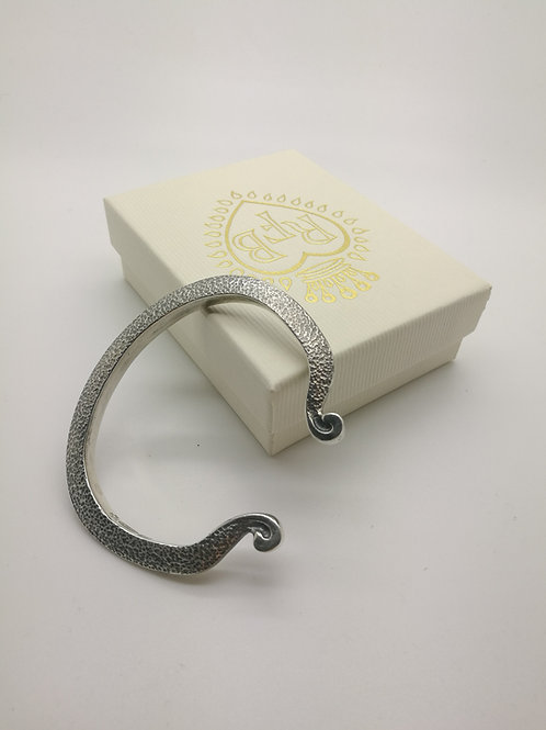 Sterling Silver Torque bracelet handmade hammer textured