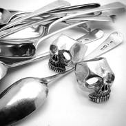 Sterling Silver Skull Rings (from recylced Georgian Spoons) - Richard F Burns Jewellery