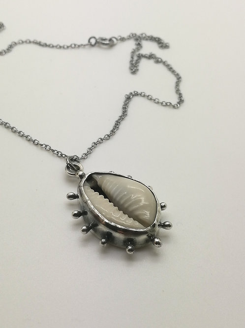 Pacific Cowrie shell silver pendant