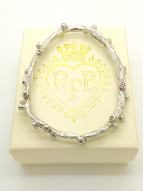 Sterling Silver Rose Branch Handmade Bracelet