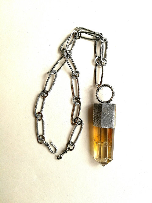 Dark Crystal - Citrine & Sterling Silver Mounted Crystal Necklace