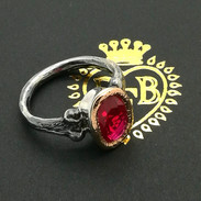 Rose Gold & Sterling Silver Synthetic Ruby Ring - Richard F Burns Jewellery