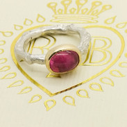 Tourmaline & Gold Sterling Silver Ring -