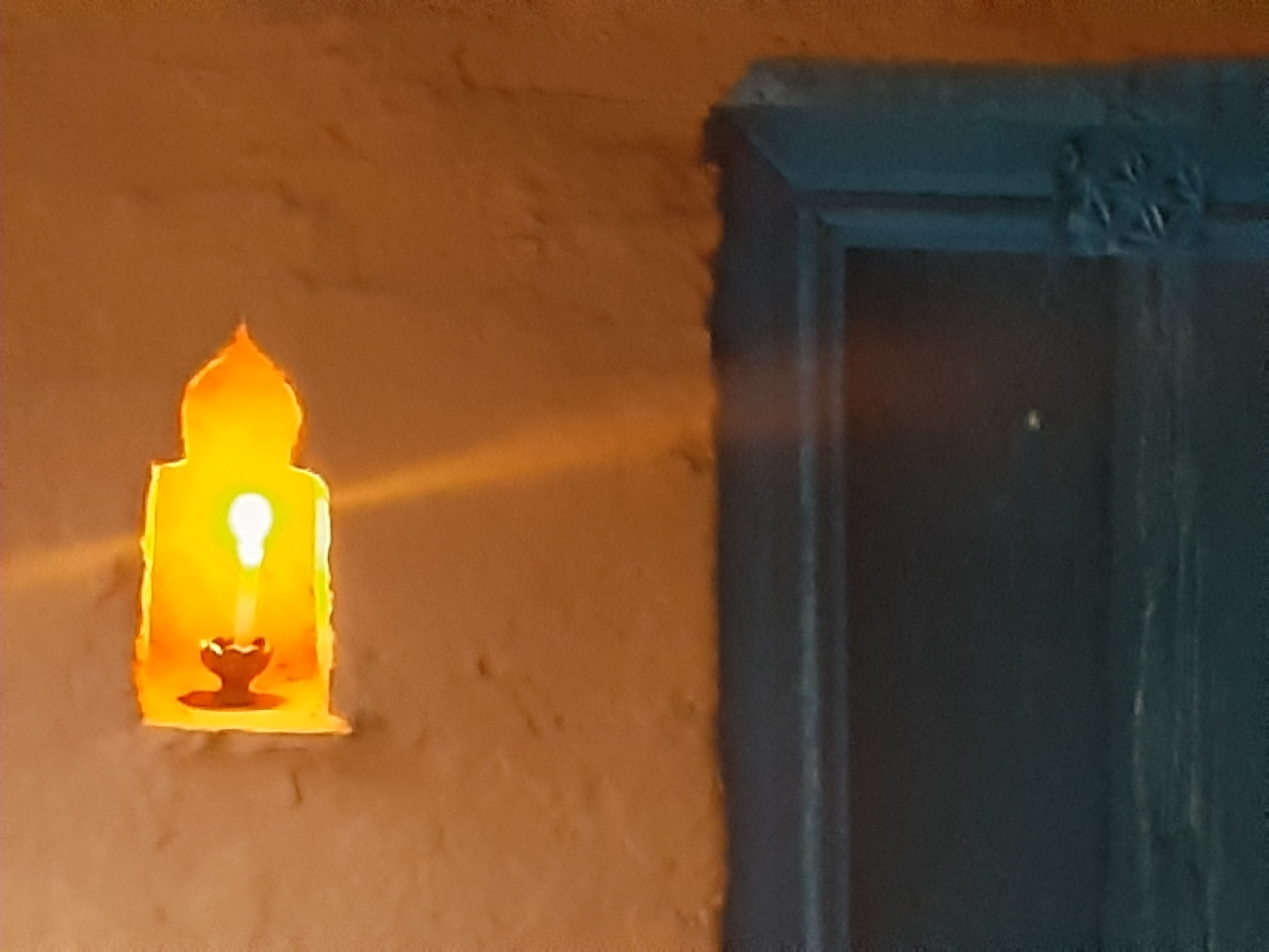 Night lamp outside the house