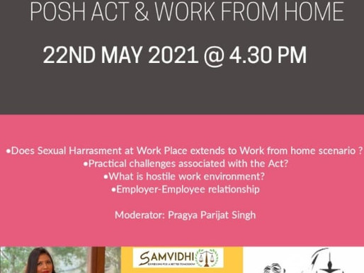 Webinar on 'POSH Act & Work from Home' by Vidhivarenyam & SamVidhi