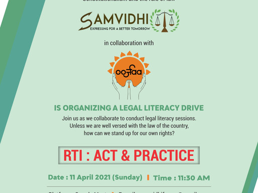"Online Session on ""RTI: Act & Practice"": SamVidhi partnering with Team Oorjaa"