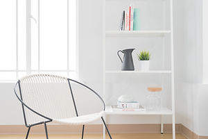 Chair and bookshelf with a few nice items. Clutter free.