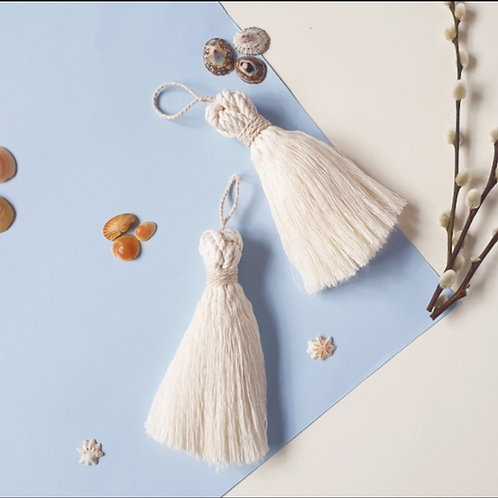 White Tassle  with Macrame Cord Ring
