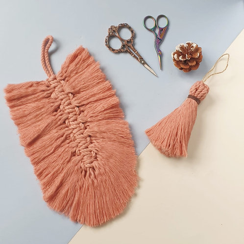 Set of Pink Feather and Tassel