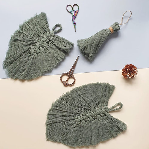 Set of Green Feathers and Tassel